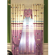 Attractive Polka Dote Beige and Purple Polyester Room Darkening Bay Window Curtain
