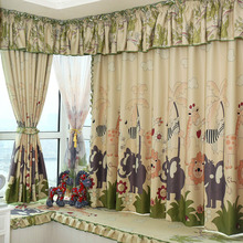 Printed Animal Pattern Blackout Fabric of Polyester Bay Window Curtain