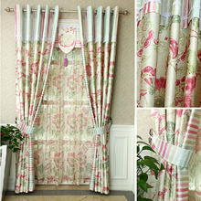 Cotton/poly Blend Colorful Printed Floral Pattern Pastoral Curtain