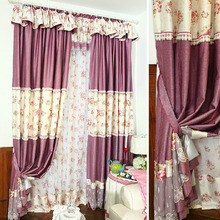 Shabby Chic Stitching Printed Floral Poly/Cotton Blend Girls Curtain