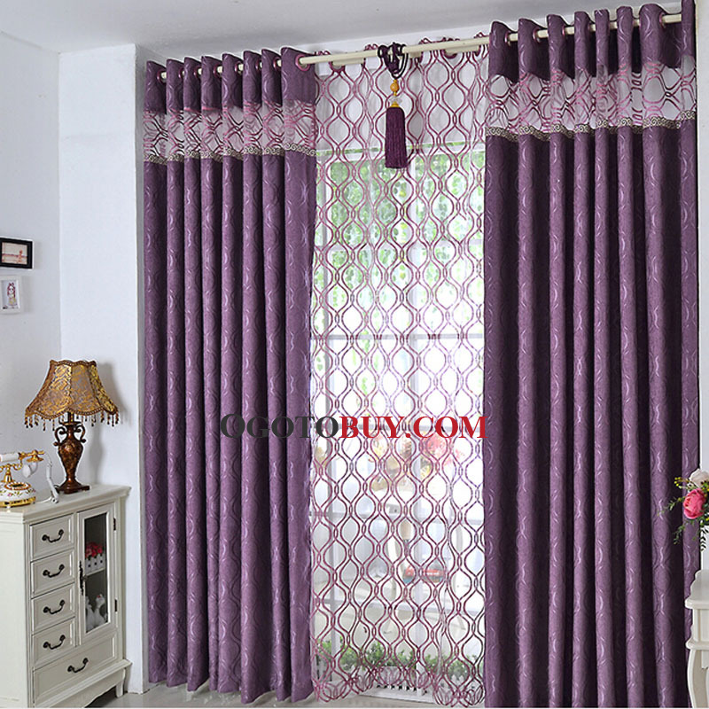Modern Simple Design Thick Purple Chenille Fabric Blackout Curtain ...