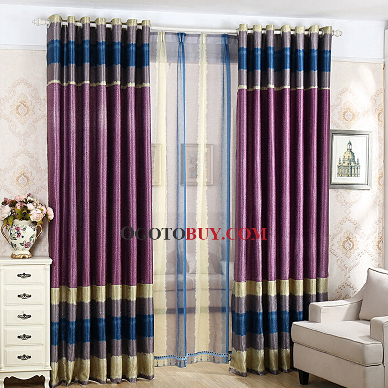 Room Darkening Curtain  Loading zoom. Contemporary Jacquard Cotton Purple Room Darkening Curtain  Buy