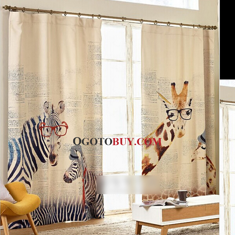 Korean Style Zebra Print Cotton Blend Room Darkening Curtain