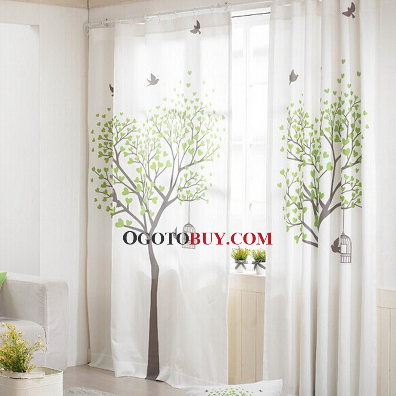 ... Living Room Curtain Printed With Tree Pattern. Loading Zoom