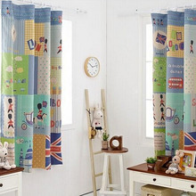 Colorful Printed Cartoon Pattern Polyester Bay Window Curtain For Kids Room