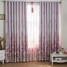Insulated Blackout Curtain Printed with Floral Pattern in Pastoral Style