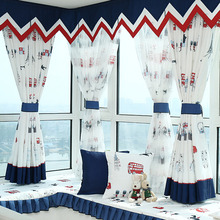 Cotton/Poly Blend Nautical Style Bay Window Curtain for Kids Room without Valance