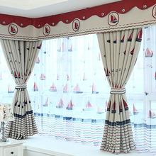 Nautical Style Thick Polyester Insulated and Privacy Blackout Bay Window Curtain without Valance