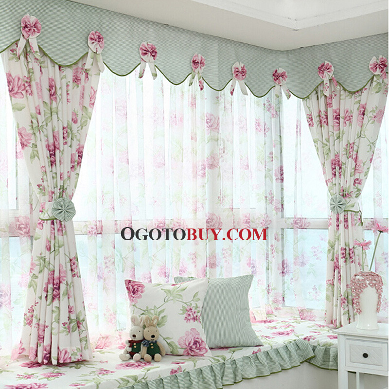 Pattern Window Curtains Polyester Purple Floral Pattern Privacy Bay Window Curtain Without