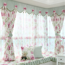 Polyester Purple Floral Pattern Privacy Bay Window Curtain without Valance