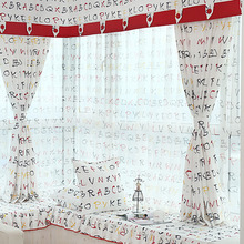 Printed White Poly/Cotton Blend Bay Window Curtain without Valance