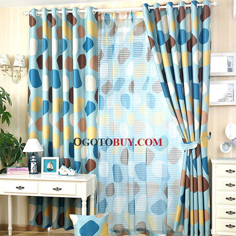 Polka Dots Poly/Cotton Blend Blue Insulated Privacy Blackout Curtain