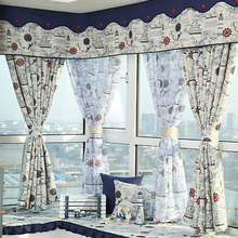 Nautical Pattern Modern Style Blackout Curtain of Bay Window Curtain