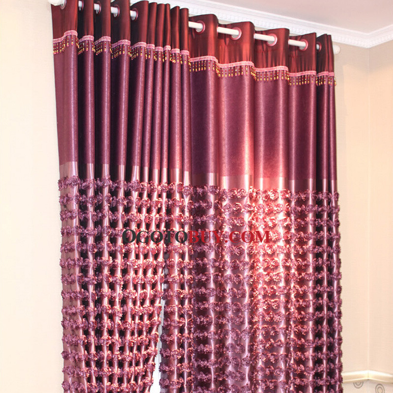 Purple Polyester Luxury and Romantic Privacy Curtain For Bedroom ...