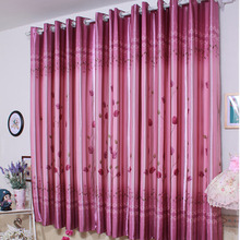 ECO-friendly Purple Polyester Tulip Pattern Room Darkening Bay Window Curtain