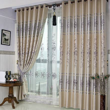 Gray Polyester Thick Fabric Blackout Curtain with Embroidery Floral Pattern