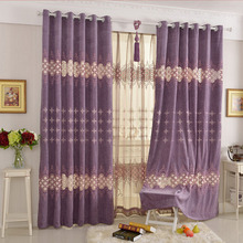 Thick Chenille Fabric Blackout Curtain Crafted with Embroidery Pattern For Bedroom
