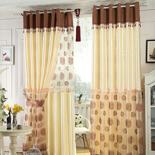 Beige Artificial Silk Curtain Design in Elegant Style For Bedroom