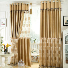 Thick Artificial Silk Insulated Blackout Curtain with Embroidery Pattern For Bedroom