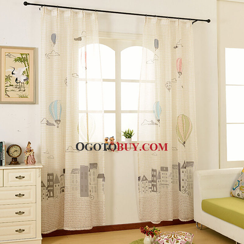Thick Polyester Beige Color Blackout Curtain with Plaid and Balloon Pattern For Kids