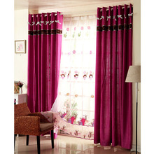 Romantic Chenille Fabric Semi Blackout Pruple Curtain For Kids Room