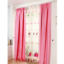 Princess Pink Color Poly/Cotton Blend Fabric Room Darkening Curtain with Star Pattern