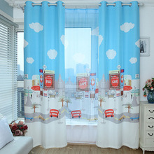 Blue Poly/Cotton Blend Privacy Kids Curtain Pattered with Cloud and City-painting