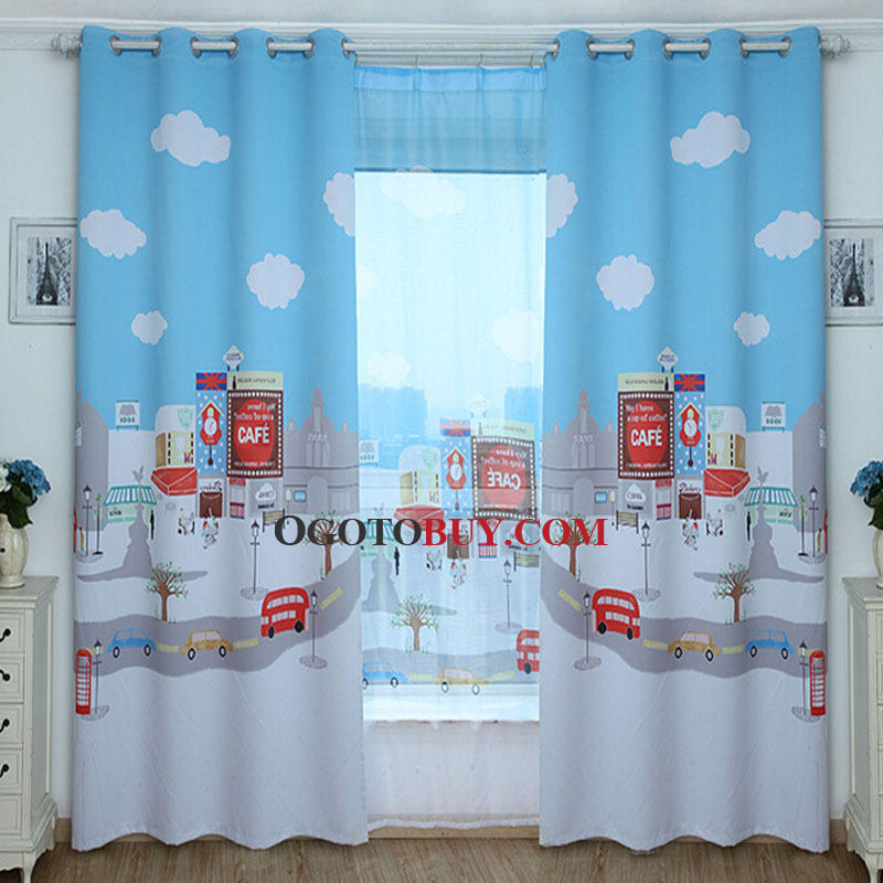 blackout curtain with cloud pattern kids curtain loading zoom