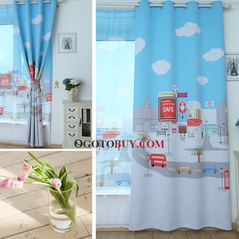 Blue Polyester Blackout Curtain with Cloud Pattern Kids Curtain