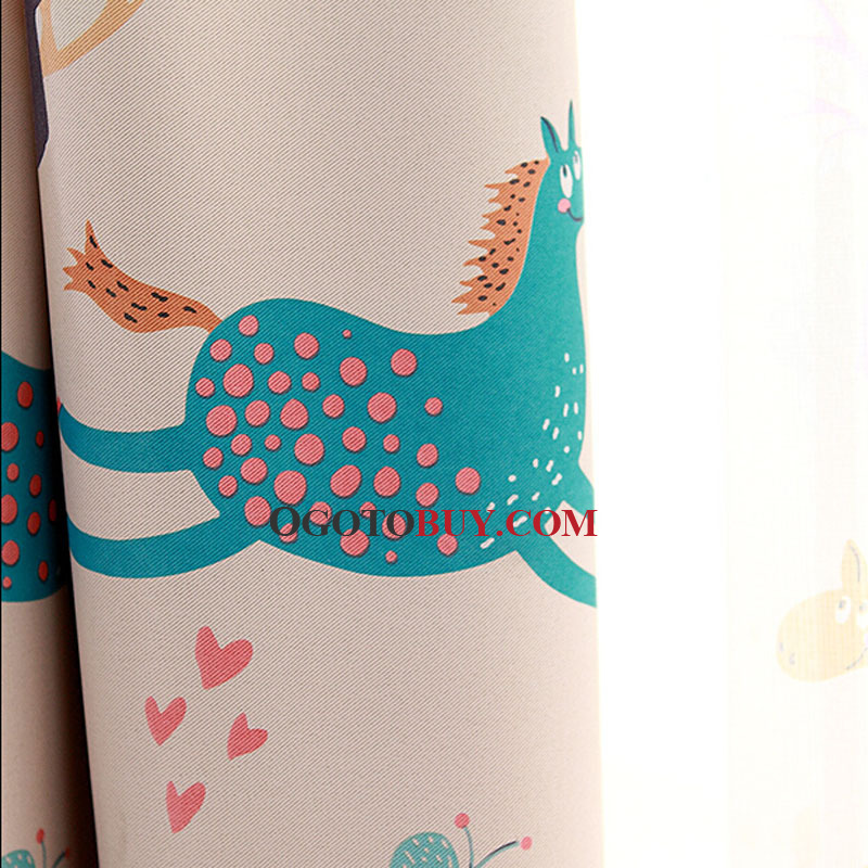 Carousel Pattern Poly/Cotton Blend Thick Fabric Blackout Curtain For Kids Room