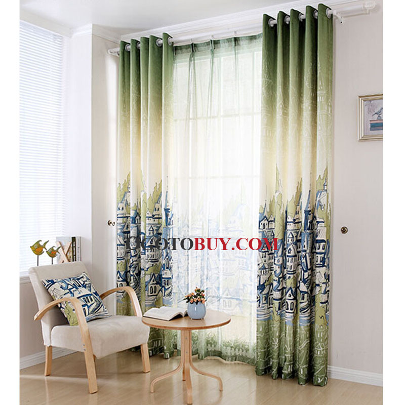 Room Darkening Curtain Loading Zoom  Nautical Casual City Painting Green  Poly Cotton Blend Room. Room Darkening Curtain   Curtains Design Gallery