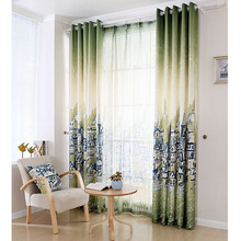 Nautical Casual City Painting Green Poly/Cotton Blend Room Darkening Curtain
