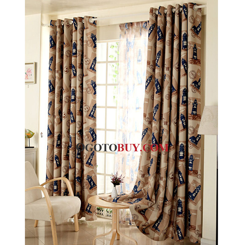 Lighthouse Pattern Nautical Style Polyester Room Darkening Curtain - Room darkening curtains for kids