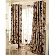 Lighthouse Pattern Nautical Style Polyester Room Darkening Curtain For Kids Room