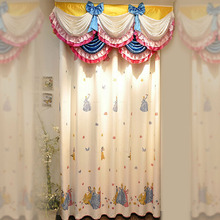 Faux Linen Beige Cartoon Pattern Princess Privacy Curtain For Girls' Room
