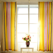Concise Japanese Style Striped Orange Cotton Privacy Curtain