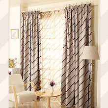 Diagonal Stripes Velvet Thick Privacy Blackout Curtain in Coffee Color