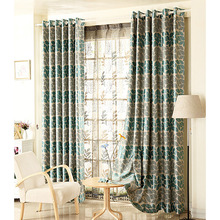 Pastoral Green Leaves Pattern Polyester Room Darkening Curtain