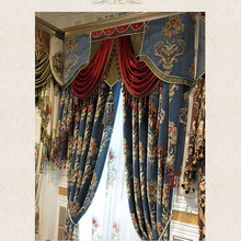 Navy Blue Chenille Jacquard Floral Pattern Blackout Curtain