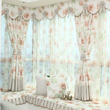 Polyester Room Darkening Curtain with Printed Floral Pattern of Bay Window Curtain without Valance