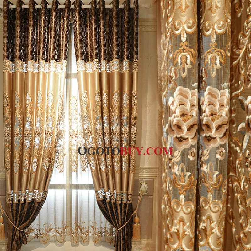 Wonderful Elite Embroidery Floral Pattern Gold Faux Silk Fabric Living Room Curtain