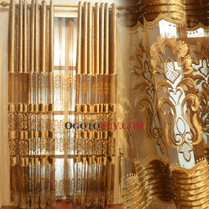 Loading zoom. Faux Silk and Polyester Blend Fabric Gold Embroidery Pattern Sheer Curtain ...