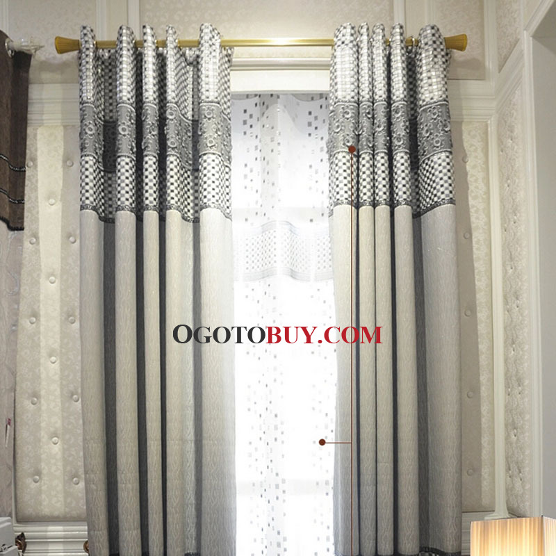 Casual Gray Polyester Fabric Room Darkening Curtain of Modern ...