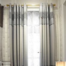 Casual Gray Polyester Fabric Room Darkening Curtain of Modern Curtain