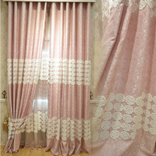 princess Pink Color Cotton/linen Room Darkening Curtain of Kids Curtain