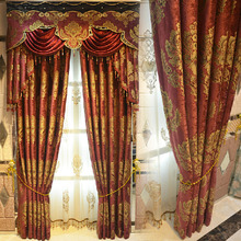 Festival Red and Gold Colors Luxury Chenille Blackout Curtain