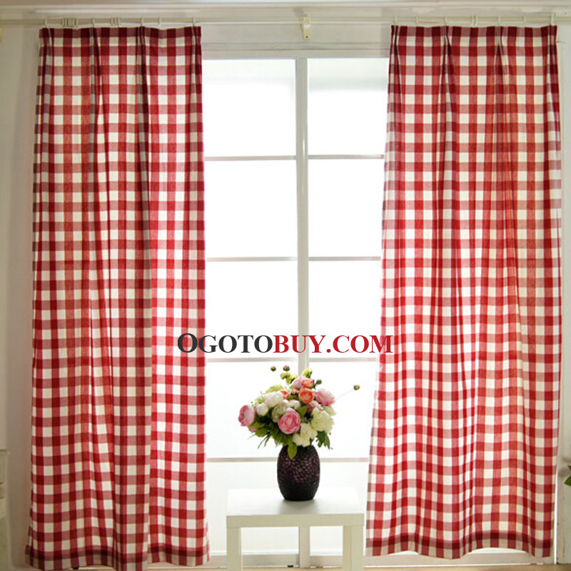 Eco Friendly Cotton Fabric With Red Plaid Modern Curtain Buy Red