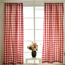 Eco-friendly Cotton Fabric With Red Plaid Modern Curtain