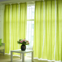 Pure Bug Green Color Linen/cotton Fabric Simple Modern Curtain