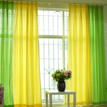 Fresh Yellow and Green Stitching Modern Style Linen/Cotton Blend Curtain